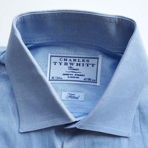 Charles Tyrwhitt Blue Fitted Shirt Size 16 I 34